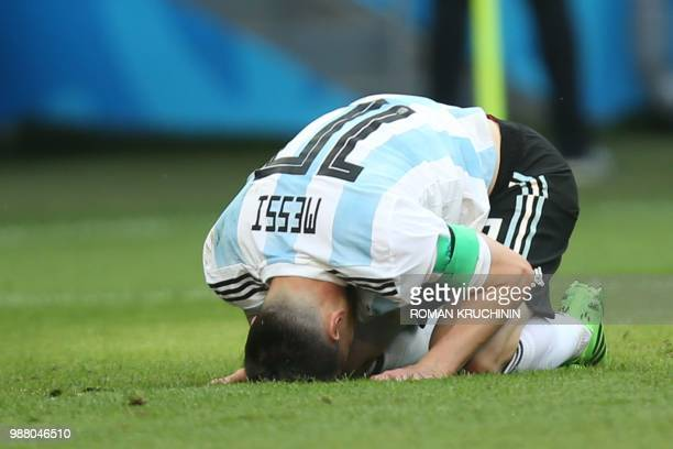 TOPSHOT Argentina's forward Lionel Messi reacts during the Russia 2018 World Cup round of 16 football match between France and Argentina at the Kazan...