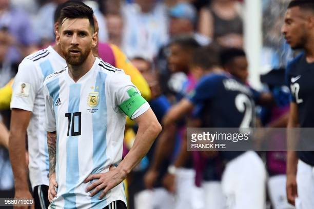 Argentina's forward Lionel Messi reacts to France's victory at the end of the Russia 2018 World Cup round of 16 football match between France and...