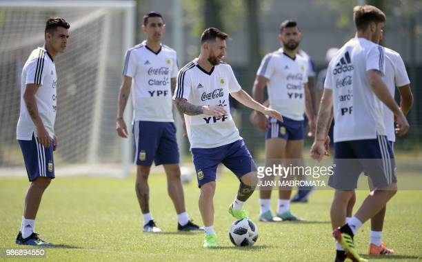Argentina's forward Lionel Messi takes part in a training session at the team's base camp in Bronnitsy on June 29 2018 on the eve of the team's round...