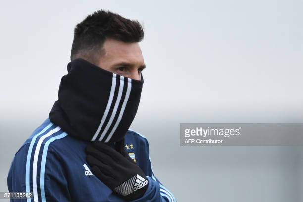 Argentina's forward Lionel Messi takes part in a training session in Moscow on November 7 2017 The team will face Russia in friendly match on...