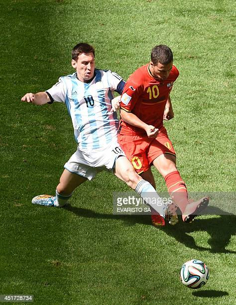 Argentina's forward Lionel Messi vies with Belgium's forward Eden Hazard during a quarterfinal football match between Argentina and Belgium at the...