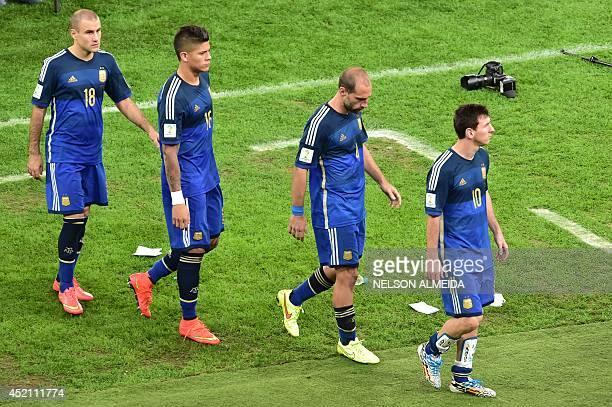 Argentina's forward Rodrigo Palacio Argentina's defender Marcos Rojo Argentina's defender Pablo Zabaleta and Argentina's forward and captain Lionel...
