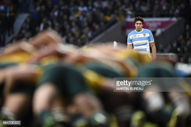 Argentina's fullback Lucas Amorosino looks at a scrum during a semifinal match of the 2015 Rugby World Cup between Argentina and Australia at...