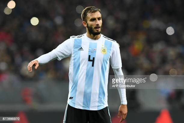 Argentina's German Pezzella gestures during an international friendly football match between Russia and Argentina at the Luzhniki stadium in Moscow...