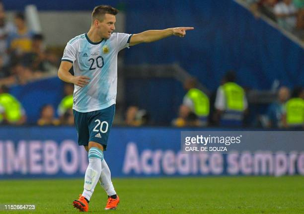 Argentina's Giovani Lo Celso celebrates after scoring against Venezuela during their Copa America football tournament quarterfinal match at Maracana...