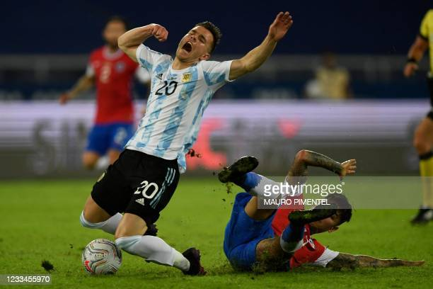 Argentina's Giovani Lo Celso is challenged by Chile's Erick Pulgar during their Conmebol Copa America 2021 football tournament group phase match at...