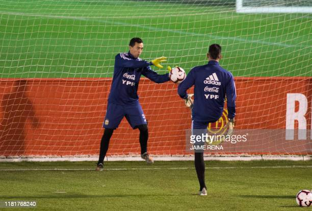 Argentina´s goalkeeper Agustin Marchesin attends a training session at Ciudad Deportiva Antonio Asensio in Palma de Mallorca on November 11 2019