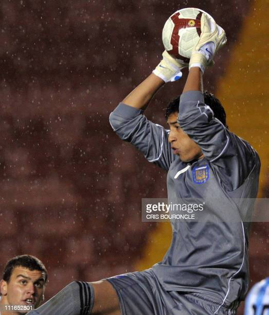 Argentina's goalkeeper Esteban Andrada catches a ball during the Under20 South American championship match against Chile at the UNPA Stadium in...