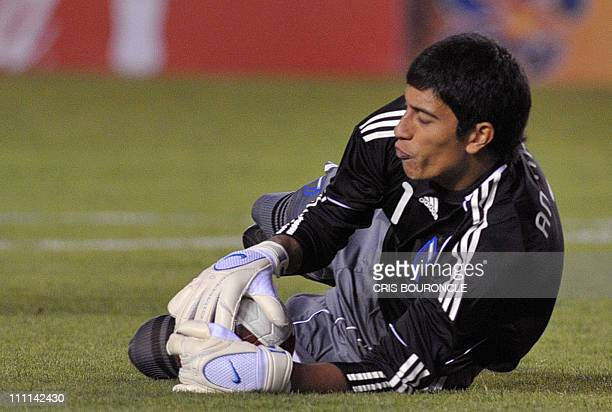 Argentina's goalkeeper Esteban Andrada catches a ball during their Under20 South American championship match against Peru at the UNPA Stadium in...