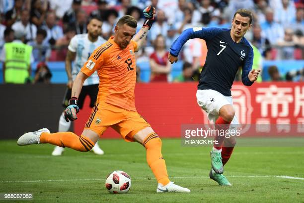 Argentina's goalkeeper Franco Armani kicks the ball during the Russia 2018 World Cup round of 16 football match between France and Argentina at the...