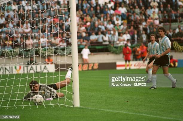 Argentina's goalkeeper Nery Alberto Pumpido watches in vain as Cameroon score the only goal in the opening game of the World Cup