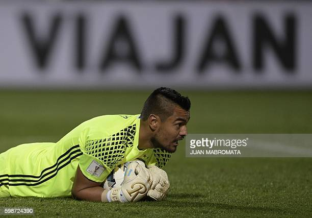 Argentina's goalkeeper Sergio Romero gestures after grabbing the ball during their 2018 FIFA World Cup Russia South American qualifier against...