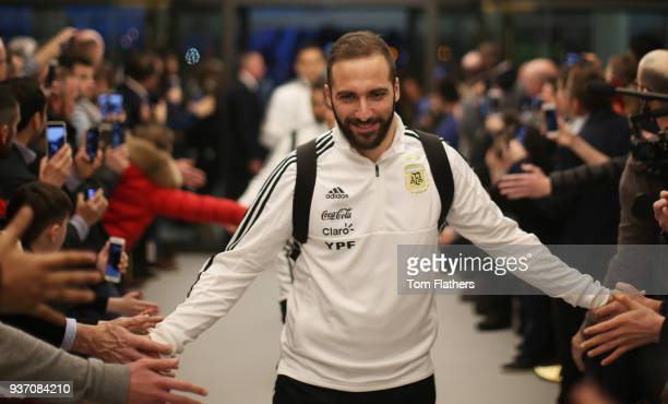 Argentina's Gonzalo Higuain arrives at the at Etihad Stadium ahead of the on International Friendly between Argentina and Italy March 23 2018 in...
