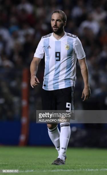 Argentina's Gonzalo Higuain is pictured during the international friendly football match against Haiti at Boca Juniors' stadium La Bombonera in...