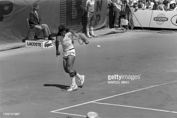Argentina's Guillermo Vilas hits the ball during the men's single final against Sweden's tennis player Bjorn Borg, at the French tennis Open of...