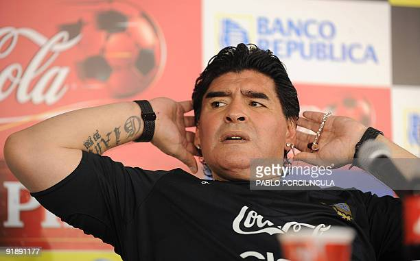 Argentina's head coach Diego Maradona gives a press conference after qualifying to the FIFA World Cup South Africa 2010 tournament at the Centenario...