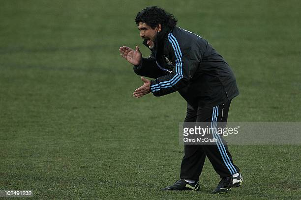 Argentina's head coach Diego Maradona screams instructions during a team training session on June 23 2010 in Pretoria South Africa