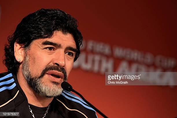 Argentina's head coach Diego Maradona speaks to the media during a press conference at Loftus Versfeld Stadium on June 11 2010 in Pretoria South...