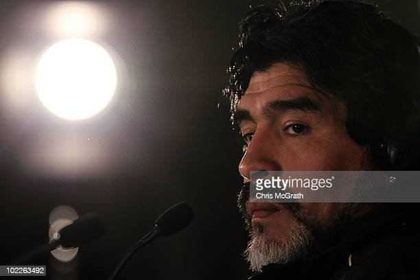 Argentina's head coach Diego Maradona speaks to the media during a press conference at Loftus Versefeld Stadium on June 21 2010 in Pretoria South...