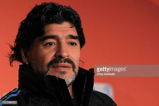 Argentina's head coach Diego Maradona speaks to the media during a press conference at Green Point Arena on July 2 2010 in Cape Town South Africa
