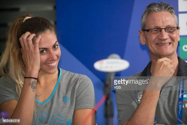 Argentina's head coach Guillermo Orduna and Argentina's volleyball player Julieta Constanza Lazcano attend FIVB Volleyball Nations League 2018 press...