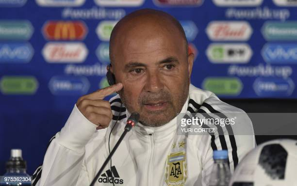Argentina's head coach Jorge Sampaoli attends a press conference at Spartak Stadium in Moscow on June 14 ahead of the match between Argentina and...