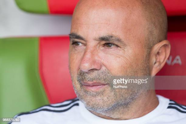 Argentinas head coach Jorge Sampaoli looks during the 2018 FIFA World Cup Russia Round of 16 match between France and Argentina at Kazan Arena on...