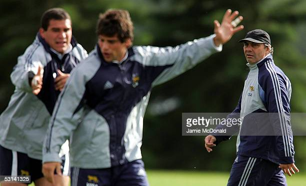 Argentina's head coach Marcelo Loffreda looks on during a training session at St Alberts rugby club June 23 2005 in Edmonton Canada