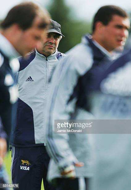 Argentina's head coach Marcelo Loffreda looks on during Argentina's training session at St Alberts rugby club on June 23 2005 in Edmonton Canada