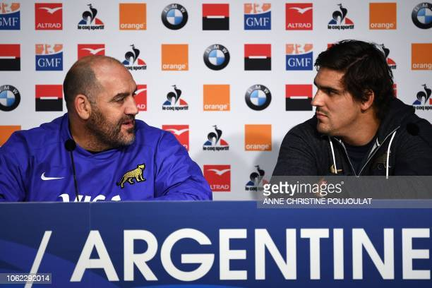Argentina's head coach Mario Ledesma and Argentina's flanker and captain Pablo Matera hold a press conference on November 16 2018 at the Pierre...