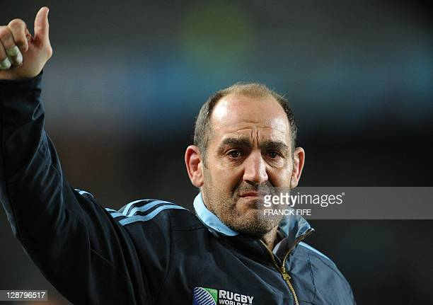 Argentina's hooker Mario Ledesma Arocena cries after the 2011 Rugby World Cup quarterfinal match New Zealand vs Argentina at the Eden Park in...