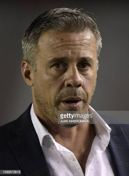 Argentina's Independiente coach Lucas Pusineri gestures during the Copa Sudamericana first stage first leg football match against Brazil's Fortaleza...