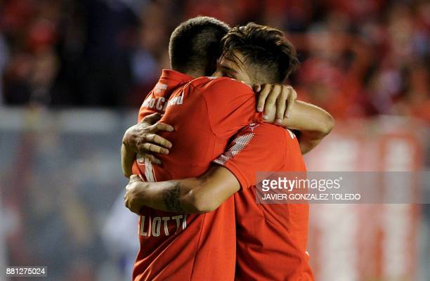 Argentina's Independiente forward Emmanuel Gigliotti celebrates after scoring against Paraguay's Libertad during their Copa Sudamericana second leg...