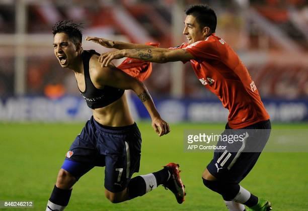 Argentina's Independiente forward Martin Nahuel Benitez celebrates after scoring against Argentina's Atletico Tucuman during the Copa Sudamericana...