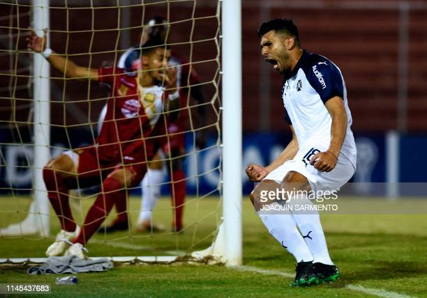 Argentina's Independiente Silvio Romero celebrates after scoring a goal against Colombia's Rionegro Aguilas during a Copa Sudamericana football match...