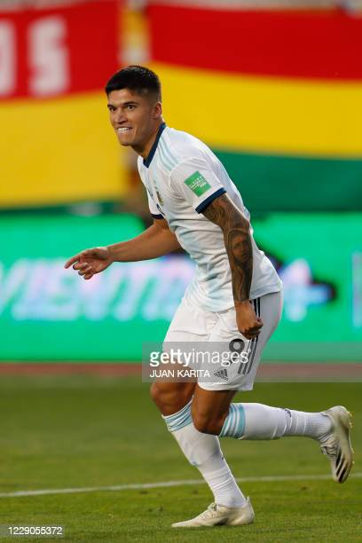Argentina's Joaquin Correa celebrates after scoring against Bolivia during their 2022 FIFA World Cup South American qualifier football match at the...