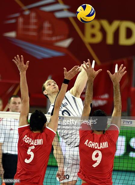Argentina's Jose Luis Gonzalez attacks during the FIVB World Championships match between Argentina and Iran on September 11 2014 in Bydgoszcz Poland