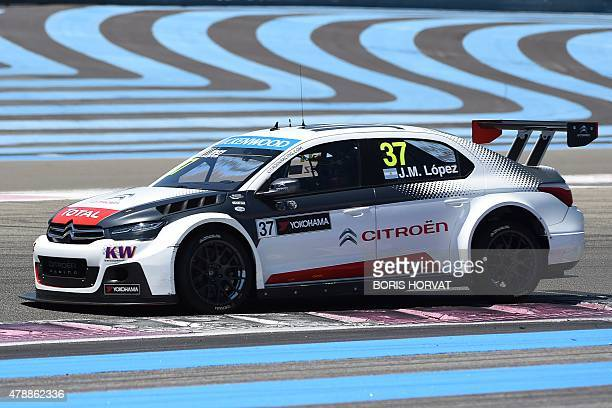 Argentina's JoseMaria Lopez competes in the FIA World Touring Car Championship in Le Castellet southern France on June 28 2015 AFP PHOTO / BORIS...