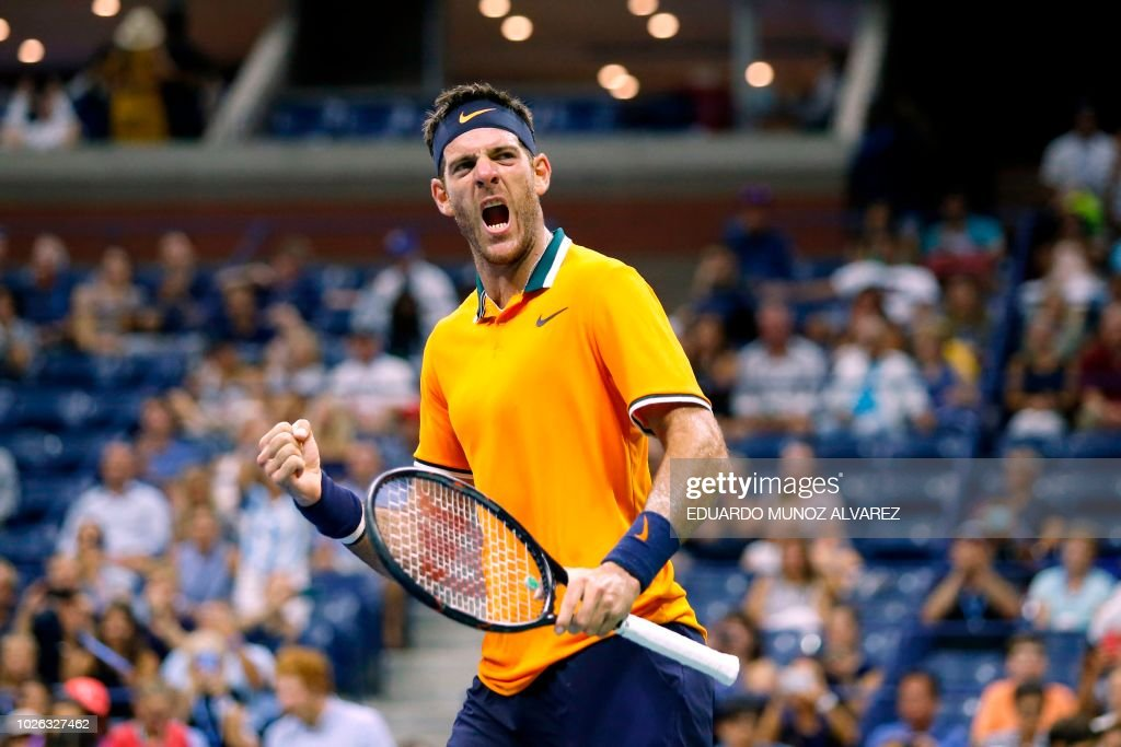 TOPSHOT - Argentina's Juan Martin del Potro celebrates after defeating Croatia's Borna Coric during their men's singles tennis match Day 7 of the 2018 US Open at the USTA Billie Jean King National Tennis Center on September 2, 2018 in New York City. -