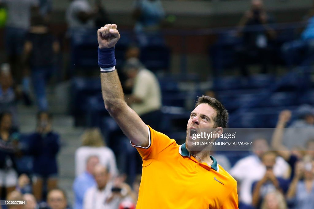 Argentina's Juan Martin del Potro celebrates after defeating Croatia's Borna Coric during their men's singles tennis match Day 7 of the 2018 US Open at the USTA Billie Jean King National Tennis Center on September 2, 2018 in New York City.