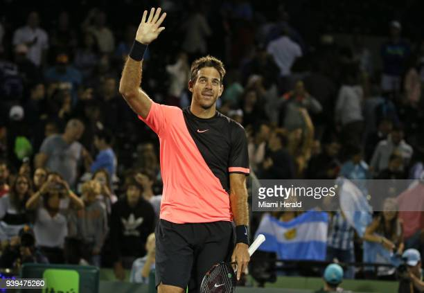 Argentina's Juan Martin del Potro celebrates after defeating Milos Raonic of Canada 57 76 76 during the quarterfinals of the Miami Open on Wednesday...