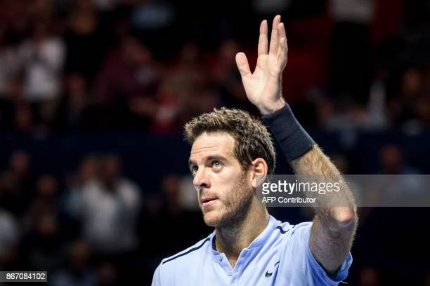Argentina's Juan Martin Del Potro celebrates his victory against Spain's Roberto Bautista Agut in their quarterfinal game at the Swiss Indoors ATP...
