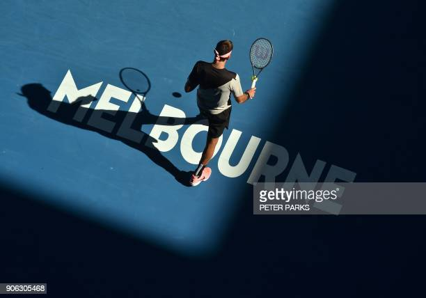 Argentina's Juan Martin del Potro prepares to serve to Russia's Karen Khachanov in their men's singles second round match on day four of the...