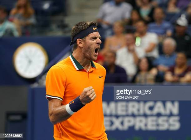 Argentina's Juan Martin del Potro screams after winning the firs set against Spain's Fernando Verdasco during their 2018 US Open men's round 3 match...
