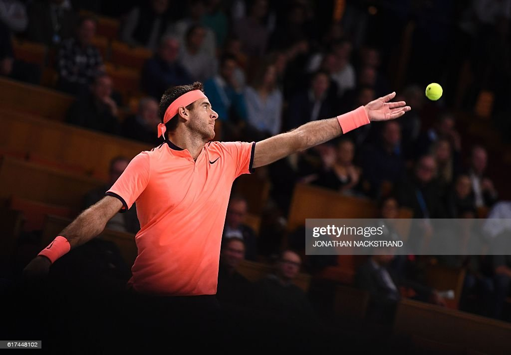 Argentina's Juan Martin Del Potro serves the ball to USA's Jack Sock during the final match of ATP Stockholm Open tennis tournament in Stockholm on October 23, 2016. / AFP / JONATHAN