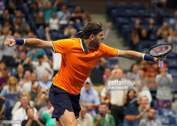 Argentina's Juan Martin del Potro celebrates winning the second set against Spain's Fernando Verdasco during their 2018 US Open men's round 3 match...