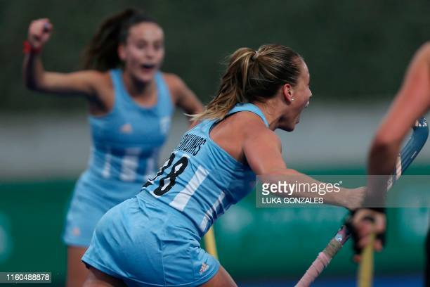 Argentina's Julieta Jankunas celebrates after scoring during the Lima 2019 PanAmerican Games Women's Gold Medal Field Hockey Match between Argentina...
