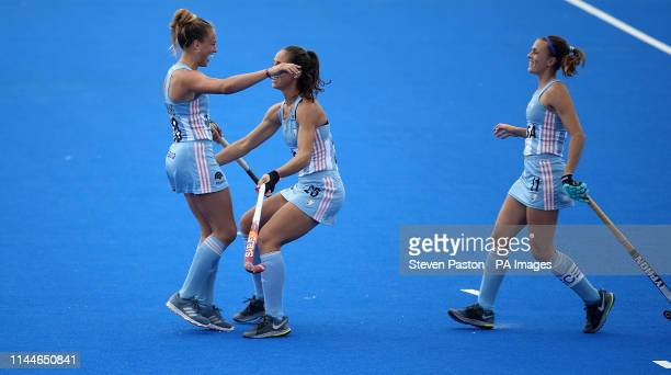 Argentina's Julieta Jankunas celebrates scoring the winning goal in the penalty shoot out to win the match in the FIH Pro League match at the Lee...