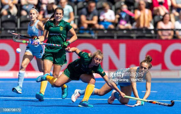 Argentina's Julieta Jankunas shoots for goal Argentina v South Africa Women's Hockey World Cup 2018 Pool C Lee Valley Hockey Tennis Centre