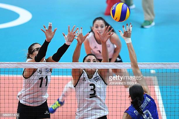 Argentina's Julieta Lazcano Colodrero and Argentina's Paula Yamila Nizetich attempt to block a spike from Russia's Nataliya Goncharova during the...